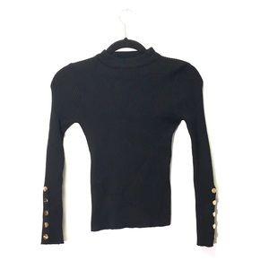 Sweaters - Ribbed Black Sweater with Gold Snaps